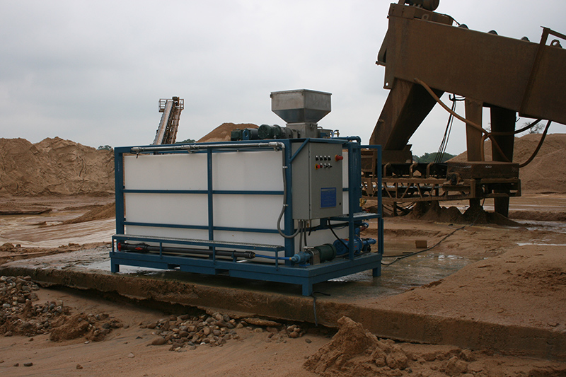 Clearwater Industries Model 500PP polymer make-down system pictured at an aggregate site to show how it can be used in operation.