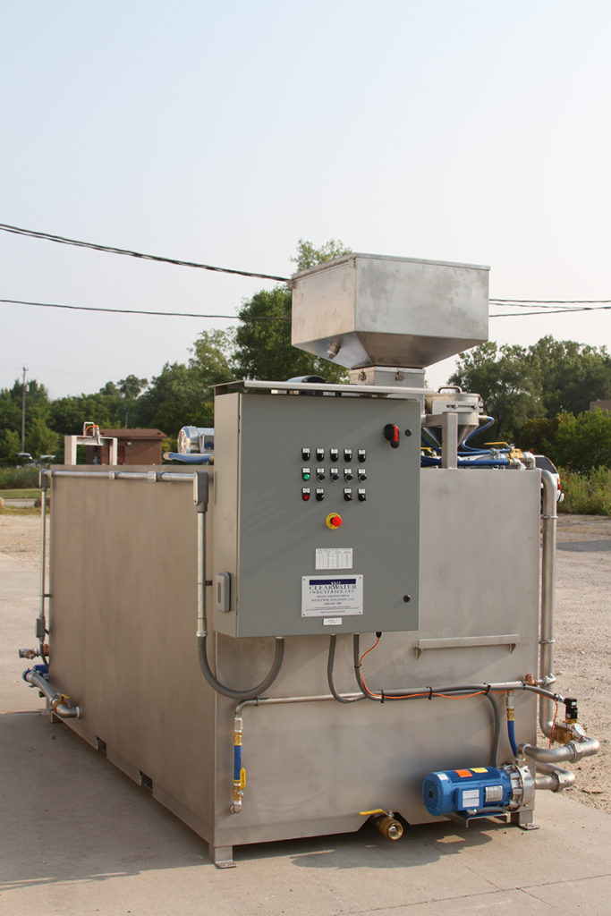 Clearwater Industries Model 800 Stainless Steel polymer make-down system displaying it's control panel and dry polymer hopper.