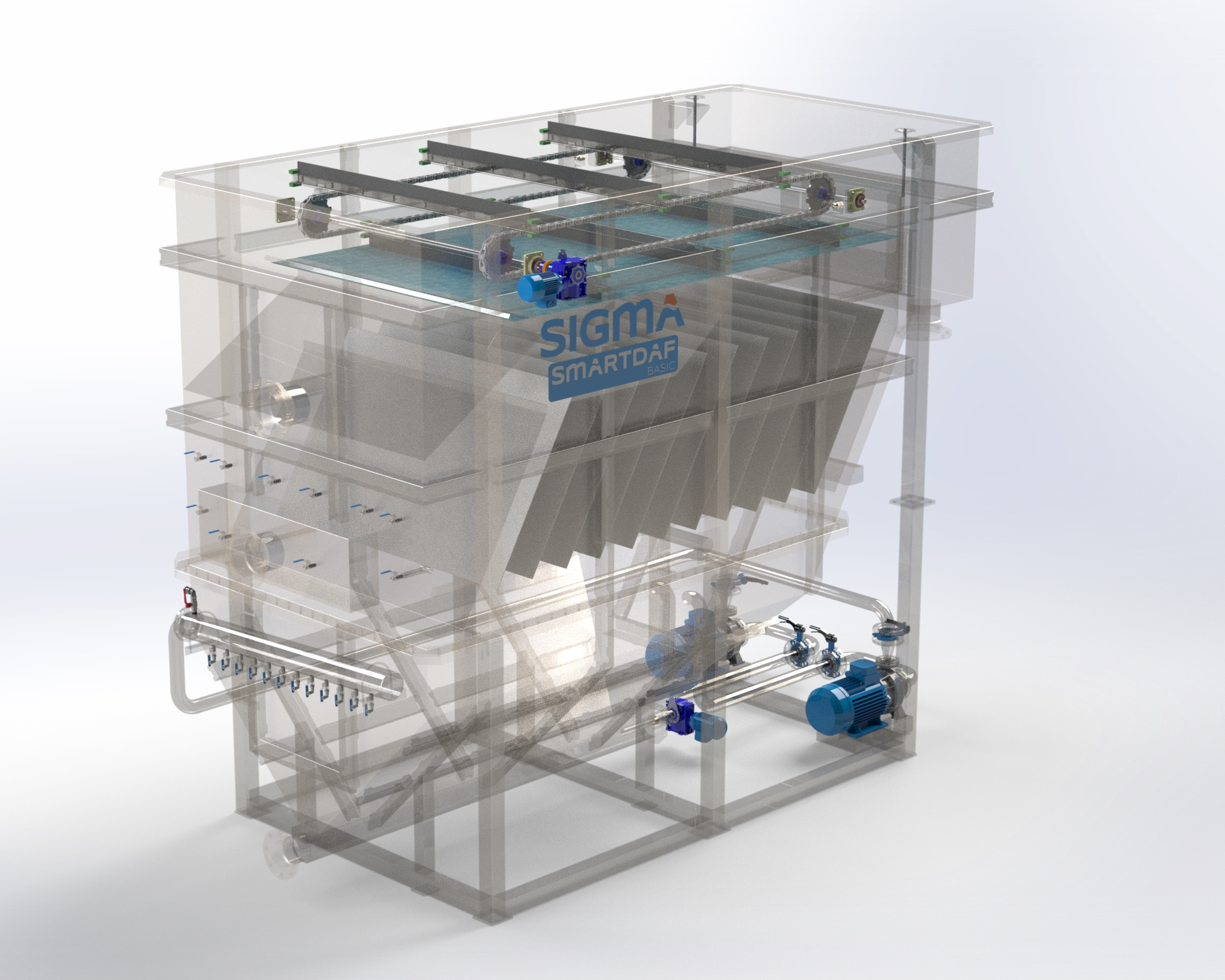 A rendered image of Sigma DAF FPBC flotation system