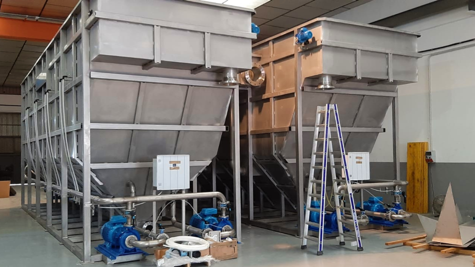 Two FPBC DAF clarifiers inside at the manufacturing plant.