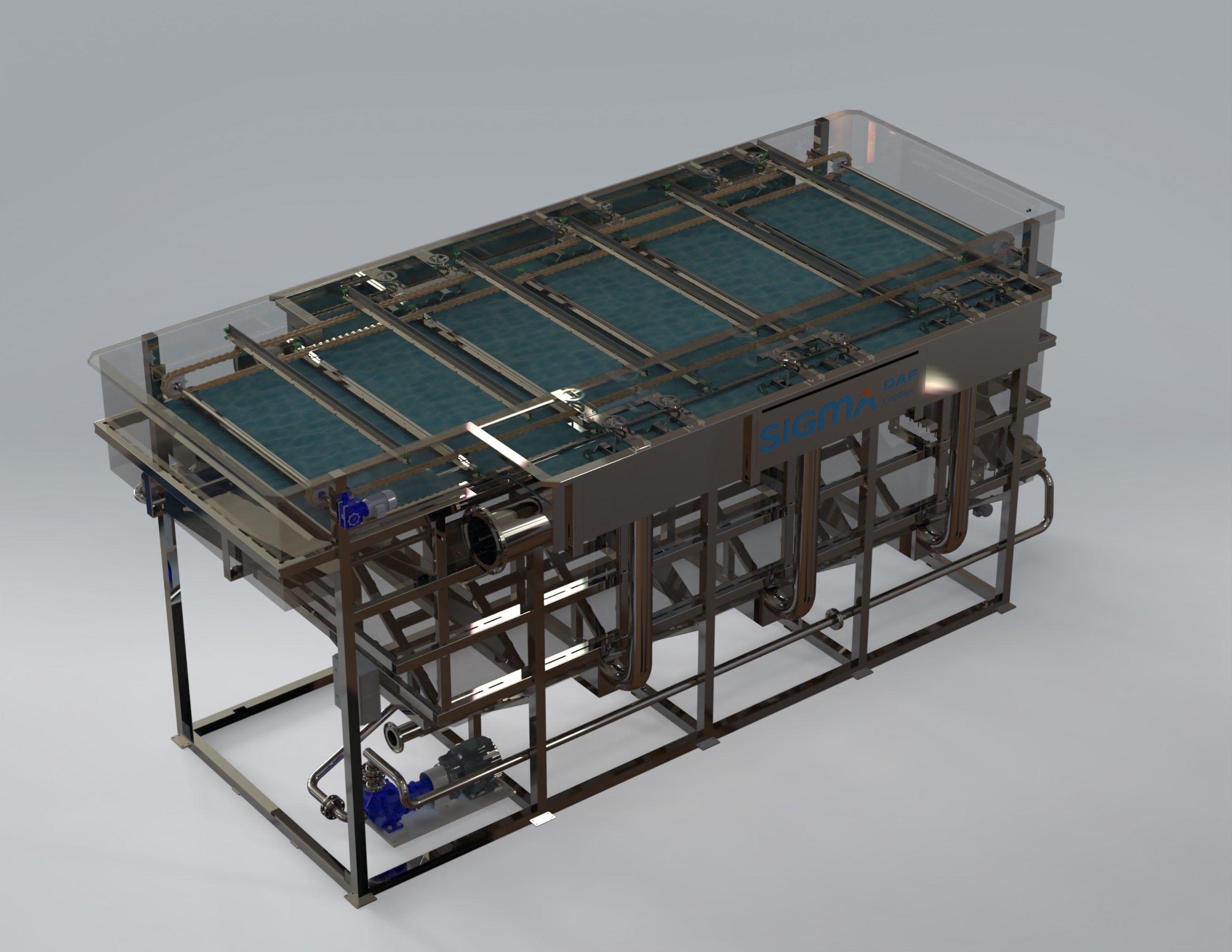 A computer drawing of the DAF FPHF clarifier.