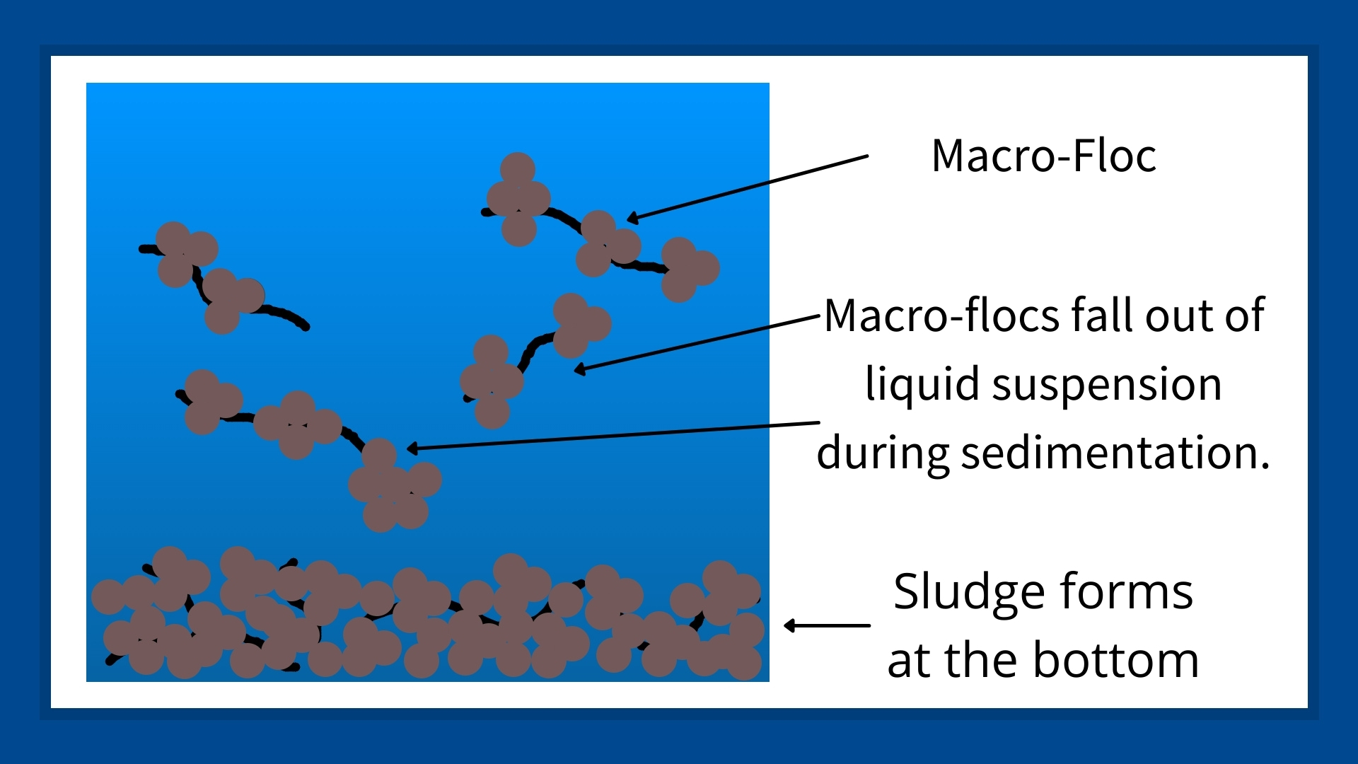 This image contains a graphic to the left and text on the right. The graphic and text are showing how flocculants capture small particles and bring them together for form large particles that increase sedimentation.
